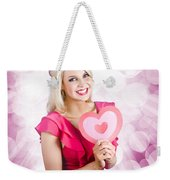 Romantic Woman With Heart Shape Valentine Card Weekender Tote Bag