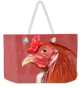 Rooster Close-up On A Reddish Background Weekender Tote Bag