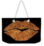 Rose Gold Texture Kiss, Lipstick On Pouty Lips, Fashion Art Weekender Tote Bag
