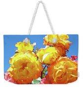 Roses Garden Summer Art Print Blue Sky Yellow Orange Weekender Tote Bag
