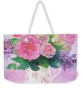 Roses In A Pink Floral Jug Weekender Tote Bag