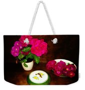 Roses In Vase And Bowl Weekender Tote Bag