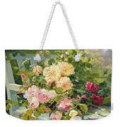 Roses On The Bench  Weekender Tote Bag