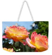 Roses Yellow Roses Pink Summer Roses 4 Blue Sky Landscape Baslee Troutman Weekender Tote Bag