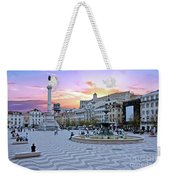 Rossio Square In Lisbon Portugal At Sunset Weekender Tote Bag