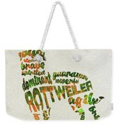 Rottweiler Dog Watercolor Painting / Typographic Art Weekender Tote Bag