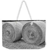 Round Hay Bales Black And White  Weekender Tote Bag by James BO  Insogna