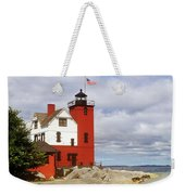 Round Island Lighthouse Weekender Tote Bag by Sally Sperry
