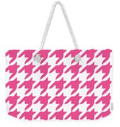 Rounded Houndstooth With Border In French Pink Weekender Tote Bag