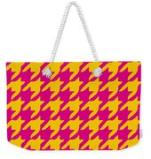 Rounded Houndstooth With Border In Mustard Weekender Tote Bag