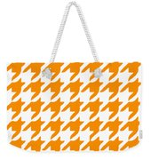 Rounded Houndstooth With Border In Tangerine Weekender Tote Bag