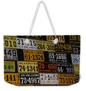 Route 66 Oklahoma Car Tags Weekender Tote Bag