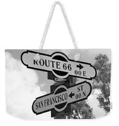 Route 66 Street Sign Black And White Weekender Tote Bag