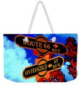 Route 66 Street Sign Stylized Colors Weekender Tote Bag