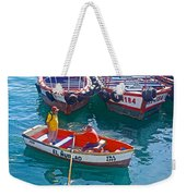 Rowboat In The Harbor At Port Of Valpaparaiso-chile Weekender Tote Bag