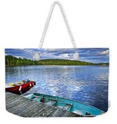 Rowboats On Lake At Dusk Weekender Tote Bag by Elena Elisseeva
