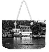 Rowing Past Turtle Rock Light House In Black And White Weekender Tote Bag