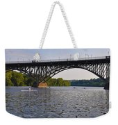 Rowing Under The Strawberry Mansion Bridge Weekender Tote Bag by Bill Cannon