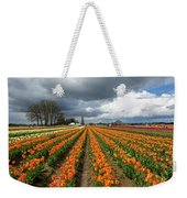 Rows Of Colorful Tulips At Festival Weekender Tote Bag