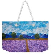 Rows Of Lavender In Provence Weekender Tote Bag