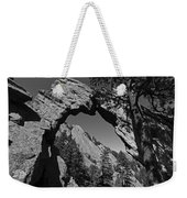 Royal Arch Trail Arch Boulder Colorado Black And White Weekender Tote Bag