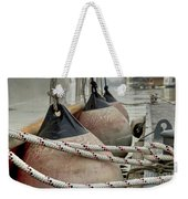 Rubber Fenders On The Side Of The Motor Yacht Weekender Tote Bag