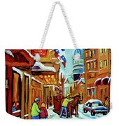 Rue St Paul Montreal Streetscene Cafes And Caleche Weekender Tote Bag