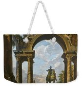 Ruins With The Statue Of Marcus Aurelius Giovanni Paolo Panini Weekender Tote Bag