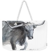 Running Texas Longhorn Watercolor Painting By Kmcelwaine Weekender Tote Bag