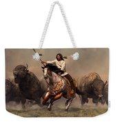Running With Buffalo Weekender Tote Bag by Daniel Eskridge