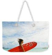 Running With Surfboard Weekender Tote Bag