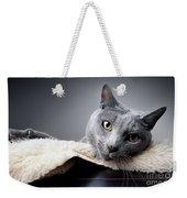 Russian Blue Cat Weekender Tote Bag