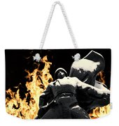 Russian Soldier Statue In Snow And Fire Weekender Tote Bag