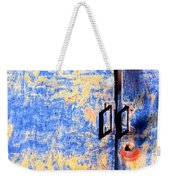 Rusted Blue And Yellow Door Weekender Tote Bag