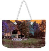 Rustic Barn In Disrepair False Color Infrared Weekender Tote Bag