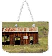 Rustic Barn With Flag Weekender Tote Bag