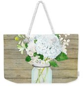Rustic Country White Hydrangea N Matillija Poppy Mason Jar Bouquet On Wooden Fence Weekender Tote Bag