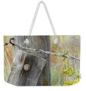 Rustic Fence And Wild Flowers Montana Weekender Tote Bag