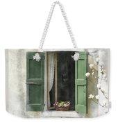 Rustic Open Window With Green Shutters Weekender Tote Bag