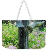 Rusty Bell On Weathered Fence Weekender Tote Bag