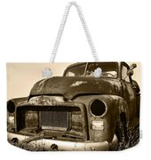 Rusty But Trusty Old Gmc Pickup Truck - Sepia Weekender Tote Bag by Gordon Dean II