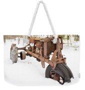 Rusty Old Steel Wheel Tractor In The Snow Tilt Shift Weekender Tote Bag