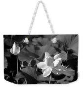 Sacred Lotus #2.    Black And White Weekender Tote Bag