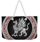 Sacred Silver Griffin On Black Leather Weekender Tote Bag