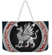 Sacred Silver Griffin On Blue Leather Weekender Tote Bag