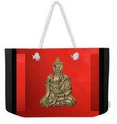 Sacred Symbols - Gold Buddha On Black And Red  Weekender Tote Bag