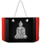 Sacred Symbols - Silver Buddha On Red And Black Weekender Tote Bag