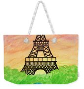 Saffron Sunset Over Eiffel Tower In Paris-watercolour  Weekender Tote Bag