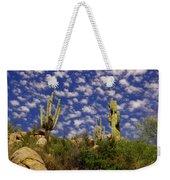Saguaros Under A Cloud Dappled Sky Weekender Tote Bag