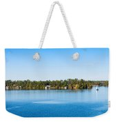 Sailboat And Cottages On Rocky Weekender Tote Bag